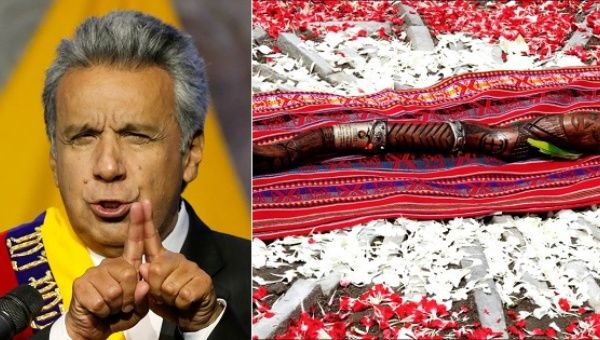 Indigenous leaders presented Ecuadorean President Lenin Moreno with a ancient sacred wooden scepter.