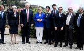 G7 Summit leaders pose after an aerial show in Taormina, Sicily, Italy, on May 26, 2017.