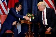 U.S. President Donald Trump and Japan's Prime Minister Shinzo Abe shake hands during a bilateral meeting at the G7 summit in Taormina, Sicily, Italy, May 26, 2017.