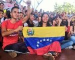 Chavista youth hold a demonstration in support of President Nicolas Maduro.