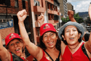 Venezuelan women demonstrating in support of President Nicolas Maduro.