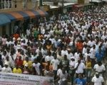 Afro-Colombians on strike in the state of Choco.
