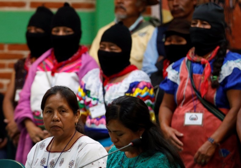 "Hundreds of indigenous representatives took part in National Indigenous Congress elections on Sunday. Maria de Jesus Patricio ""Marichui"" Martinez"