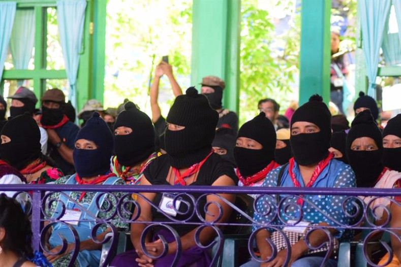 On Sunday, the EZLN was one of the delegates from 32 states, for a total of 848 delegates from 58 Mexican Indigenous communities that took part in the National Indigenous Congress  .