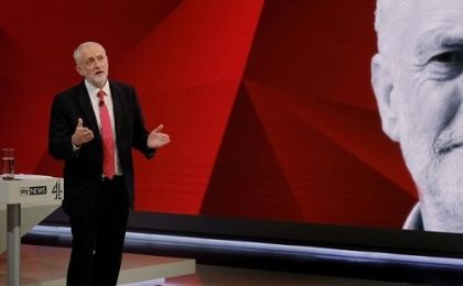 Labour leader Jeremy Corbyn answers questions from the studio audience during a joint Sky News and Channel 4 program.