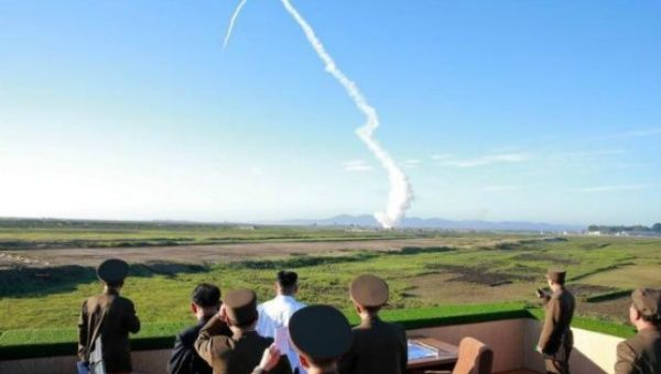 The test launch of a short-range ballistic missile landed in the sea off its east coast, near Japan, in defiance of mounting pressure and threats of increased sanctions.