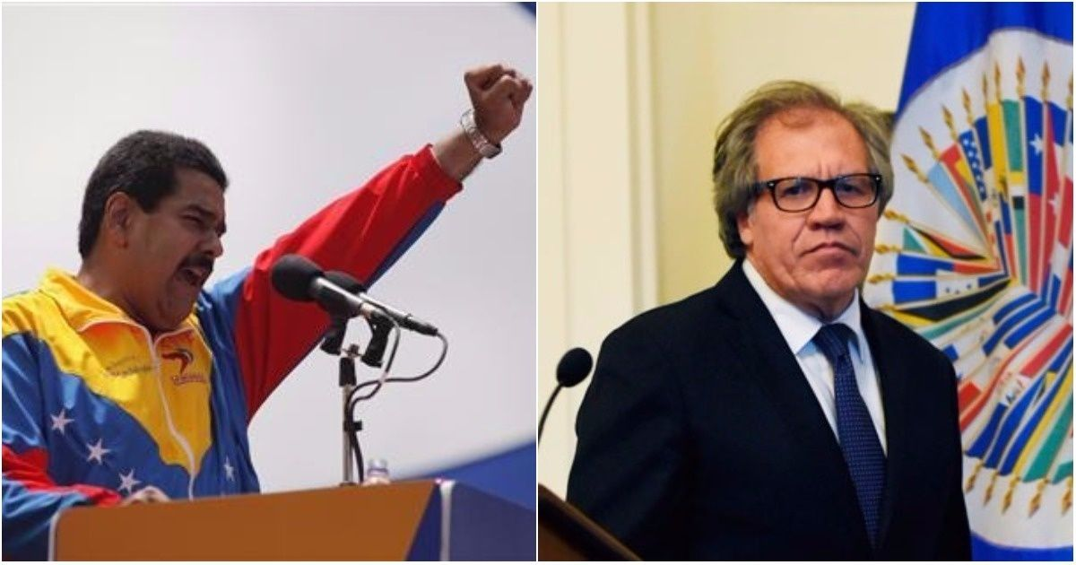 OAS Head Luis Almagro (R) has been accused of bias and undiplomatic behavior in his dealings with Venezuela and its president, Nicolas Maduro (L).