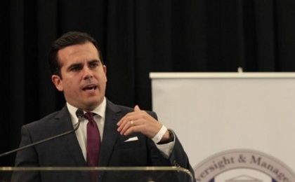 Puerto Rico Governor Ricardo Rosello addresses the audience while presenting the U.S. territory