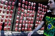 Masks depict faces of politicians during a protest by NGO Rio de Paz against political corruption scandals in Brazil, in Sao Paulo, June 1, 2017.