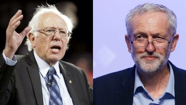 U.S. Senator Bernie Sanders and the leader of the UK Labour Party Jeremy Corbyn.