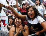 Supporters of Morena's Delfina Gomez shout during the closing campaign rally in Chicoloapan de Juárez, State of Mexico.