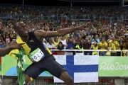 Usain Bolt celebrating the Men's 4x100m Relay Final Win at the Rio Olympics.