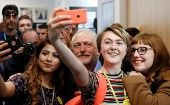 Jeremy Corbyn, leader of the Labour Party, poses for selfies at a campaign event in Leeds, UK, May 10, 2017