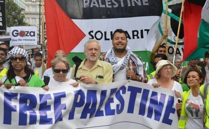 Jeremy Corbyn at a pro-Palestinian rally in London, 2014.