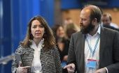Fiona Hill and Nick Timothy arrive at the annual Conservative Party Conference in Birmingham, UK, October 5, 2016