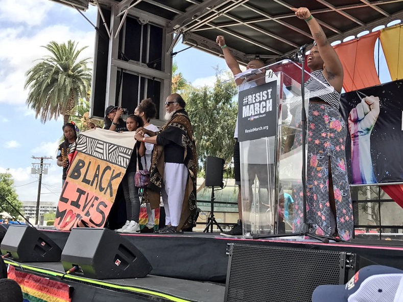 Black Lives Matters was one of many groups, celebrities and politicians invited to take the stage at @ResistMarch.