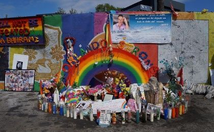 Memorial in front of the Pulse Nightclub on the one year anniversary of the deadliest single person shooter event in US history