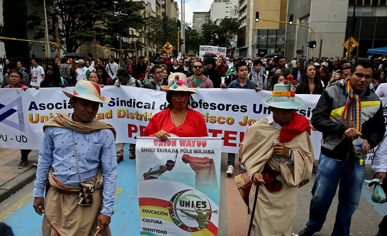 As Colombian teachers continue their protest for better wages and working conditions, it
