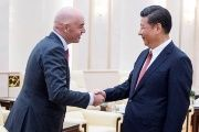 China's President Xi Jinping (R) meets FIFA President Gianni Infantino at the Great Hall of the People in Beijing, China June 14, 2017