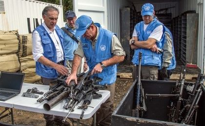 The U.N. peace mission in Colombia monitored the disarmament process.