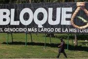 A billboard slams the U.S. blockade as