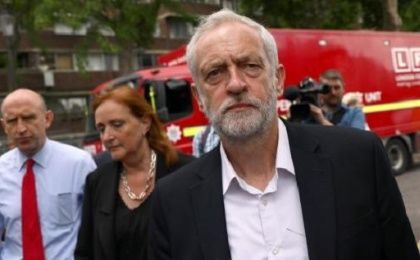 The Labour leader visited the scene of the fire and talked with residents and victims.