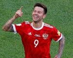 Russia's Fedor Smolov celebrates scoring their second goal in St.Petersburg, Russia, June 17, 2017.