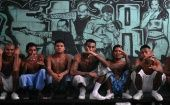 Gang members who are also inmates pose for a photograph at a prison in Quezaltepeque, on the outskirts of San Salvador.