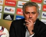 Manchester United coach Jose Mourinho at a news conference after winning the UEFA Europa League final match 24, May 2017