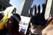 Ecuadorean demonstrators take part in a protest over the case against Chevron, New York, U.S. 15, October, 2013