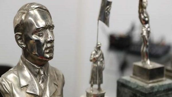 The bust of Adolf Hitler, one of 75 artifacts found.