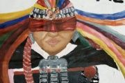 A painting by Sahyan Antillanka about Mapuche student Fabiola Antiqueo, who was blinded during a demonstration.