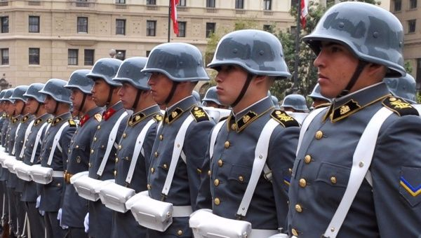 Army honor guard waiting at La Moneda Presidential Palace for a foreign dignitary