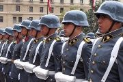 Army honor guard waiting at La Moneda Presidential Palace for a foreign dignitary's arrival in Santiago, Chile, 2009.