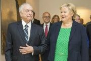 Brazilian President Michel Temer meets with Norway's Prime Minister Erna Solberg