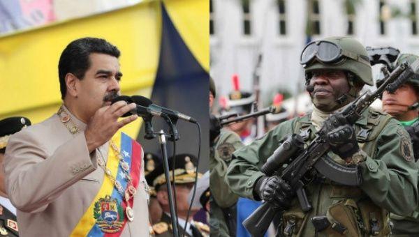 Venezuelan President Nicolas Maduro (L) and a Venezuelan soldier (R).