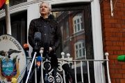 WikiLeaks founder Julian Assange speaks from the Ecuadorian embassy in London.
