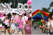 Pink Dot in Singapore (left), Vietnam's first LGBT Pride in Hanoi in August, 2012 (right).