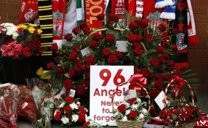 Tributes for the 96 victims of the Hillsborough disaster at Anfield in Liverpool, UK, on April 15, 2016.