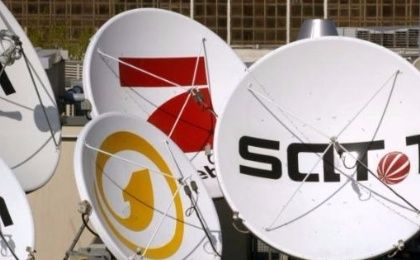 Satellite dishes of the German television stations Kabel 1, SAT 1 and Pro Sieben are pictured on the roof of the company
