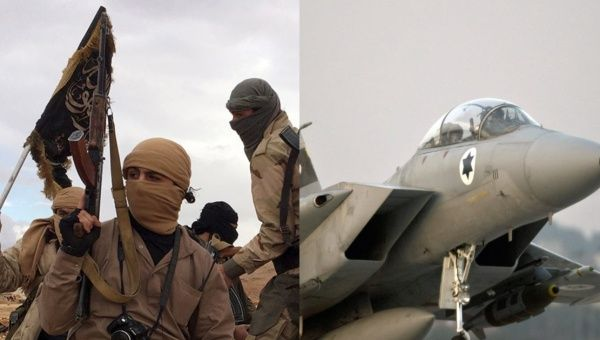 "Al-Qaida-affiliated ""Levant Liberation Committee"" forces alongside an Israeli F-15"