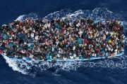 A boat carrying migrants in the Mediterranean, February 12, 2015