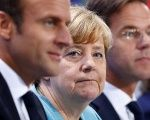 French President Emmanuel Macron, German Chancellor Angela Merkel and Dutch Prime Minister Mark Rutte at the Chancellery in Berlin, Germany June 29, 2017