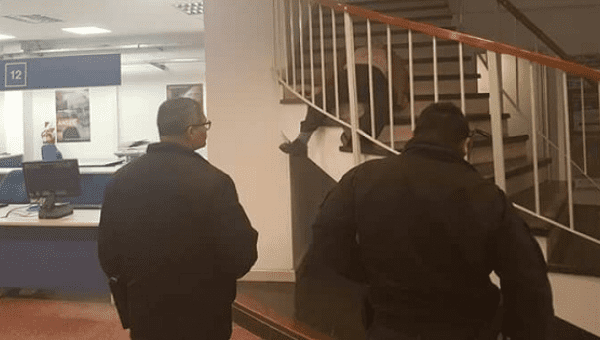 Video footage of the incident showed Estivil walking down the open staircase of the ANSES office, stopping halfway and shooting himself with a gun.