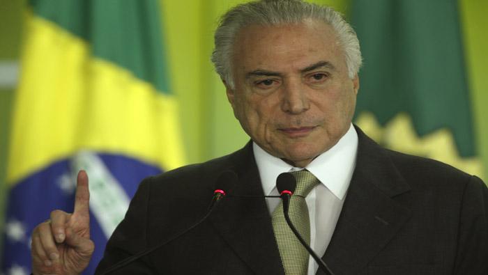 """Los que """"pretenden parar"""" Brasil """"no lo conseguirán"""", asevera Michel Temer"""