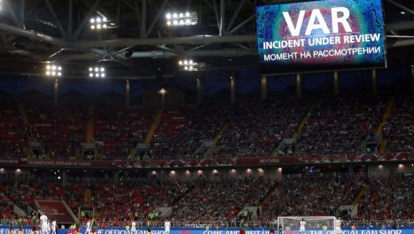 Spartak Stadium, Moscow, Russia - June 18, 2017 A message is displayed on the big screen while Chile's Eduardo Vargas