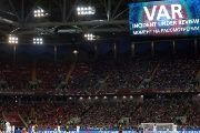 Spartak Stadium, Moscow, Russia - June 18, 2017 A message is displayed on the big screen while Chile's Eduardo Vargas' goal is reviewed by the VAR and later disallowed
