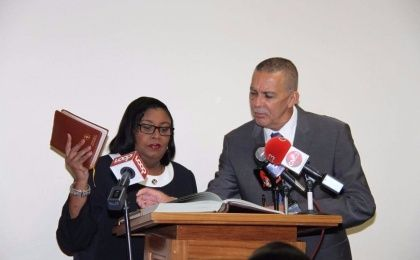 President Anthony Carmona and Minister of Public Utilities, Marlene McDonald during the swearing in ceremony June 30