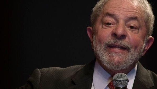 Former president of Brazil Luiz Inacio Lula da Silva during an event with the Worker