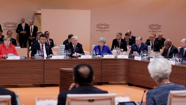 World leaders attend the first working session of the G20 meeting in Hamburg, Germany, on July 7, 2017.